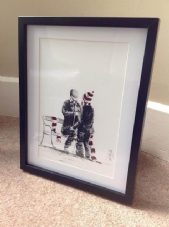 Hearts 'Let's Button You Up Wee Man' - original artwork painted in acrylic in 14'' x 11''frame